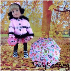 GOTZ HANNAH DESIGNAFRIEND  AMERICAN GIRL DOLL OUTFIT WITH BOOTS-TIGHTS&BROLLY