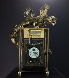 The Sea Dragon on the clock. He lives in the deep sea. You can see illuminators and a prop on his tale. He is the king and the keeper of time that moves. The Sea Dragon 1 World Clock, Sea Dragon, Draw On Photos, Steampunk Fashion, Cool Furniture, Arts And Crafts, Deviantart, Sculpture, Metal