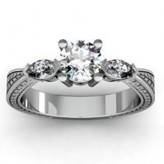 Engraved Antique Marquise Diamond Engagement Ring set in 18k White Gold  In stockSKU: VS1085-18W
