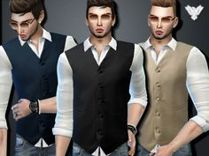 The Sims Resource: Tuxedo Shirt with Vest by Pinkzombiecupcakes • Sims 4 Downloads