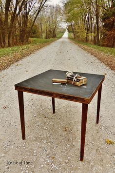 turn anything into a chalkboard like this old folding table - would be fun for game nights, too ... using the table as as your scorepad :)