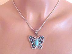 Halskette, Silberfarben,Schmetterling mit Strass, ca. 50cm