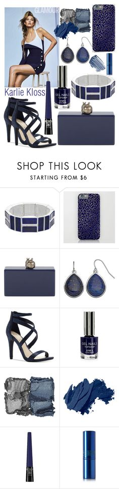 """""""Navy: Karlie Kloss"""" by mandimwpink ❤ liked on Polyvore featuring Chaps, Edie Parker, Jessica Simpson, Topshop, NARS Cosmetics, Bobbi Brown Cosmetics, Revlon, Lipstick Queen, Christian Dior and navy"""