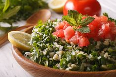 Nosh on this deliciously textured tabbouleh salad recipe, which is packed with heart and gut-healthy bulgur, fragrant mint and parsley, and tomatoes. Salad Recipes, Healthy Recipes, Organic Recipes, Ethnic Recipes, Middle Eastern Dishes, Homemade Hummus, Menu, How To Squeeze Lemons, Meatless Monday
