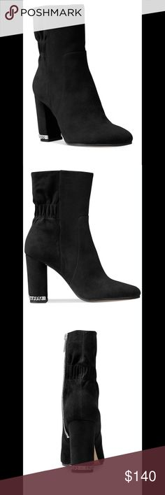 MICHAEL KORS BOOTIE Michael Kors suede bootie features an of-the-moment block heel accented with a metallic chain and logo detailing. Side zipper and stretch band at mid-shaft. Michael Kors Shoes Ankle Boots & Booties