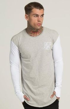 Sik Silk Contrast Curved Hem Long Sleeve T-Shirt - Grey
