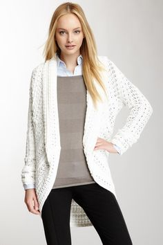 My Tribe Shawl Collar Pointelle Cardigan by My Tribe on @HauteLook
