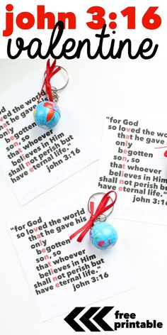 Since Valentine's Day falls on Sunday this year, we will be giving these out at church...Free Printable Valentine with John 3:16 Acrostic! Attach a globe keychain for an extra special reminder of the love of God this Valentines Day!