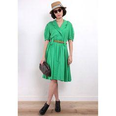 Vintage 1980s Green Skater Dress