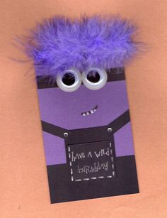 Purple Minion Birthday Card by BongelBlessings on Etsy, $3.00