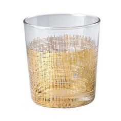 Old fashioned glasses featuring a gold crosshatch pattern add glamour to a bar cart. | $63