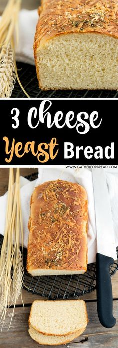 Delicious yeast bread made with Asiago, Romano and sharp cheddar cheeses and topped with a sprinkling of herbs. This yeast dough loaf is amazing for a dinner side or bread basket favorite.