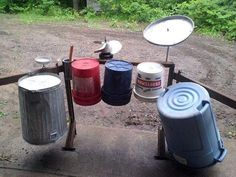 Homemade Traps By Jon Slone D ented-in pie plates Both on the skids. With little tin boxes And trash can lids. Kids Outdoor Play, Outdoor Play Areas, Backyard For Kids, Diy For Kids, Music Instruments Diy, Homemade Musical Instruments, Natural Playground, Backyard Playground, Homemade Drum