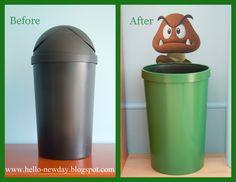 Super Mario Bros. Bedroom....I love this trash can, so cute!