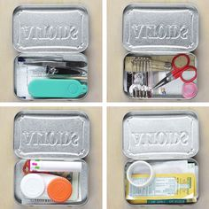 Repurpose Empty Mint Tins Into These 4 DIY Travel Kits 4 Ways To Repurpose Mint Tins More from my site Alone: Survival Hacks: DIY Water Filter (Season Pot Mason Diy, Mason Jar Crafts, Organizing Hacks, Hacks Diy, Simple Life Hacks, Useful Life Hacks, Travel Kits, Packing Tips For Travel, Travel Hacks
