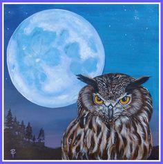Gufo e luna - Owl and moon www.ilsassonelpozzo.it by Paola Capponi