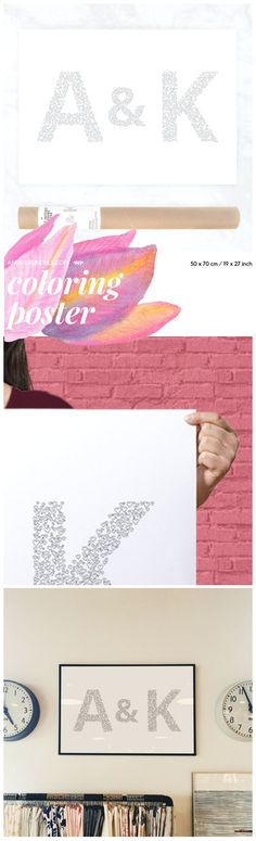 Order a poster with your own initials to color in! This is perfect for a Valentine's Day gift, wedding, housewarming! The shop owner is cute too and can add children initials underneath, if you message her!