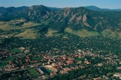 Awesome aerial view of Boulder home to University of Colorado & Reel D (3D film production company that makes the 3D glasses for the theaters) also a real tech hub.