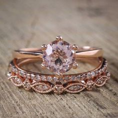 Ladies Wedding Engagement 14K Rose Gold Round Cut Diamond 2.Ct Bridal Ring Sets #2Jewelauction #SolitairewithAccents #weddingring