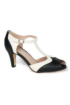 Giselle T-Strap Heel in Black and White | Pinup Girl Clothing