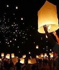 Have each table at your reception share a lantern and write a wish for you!!! Then gather outside to watch them fly.