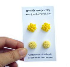 Stud earrings yellow jewelry flower rose http://etsy.me/nOM8QT