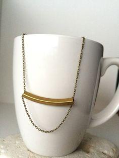 Dainty Necklace  Minimalist  Brass Tube Bead by RedGiraffeDesigns