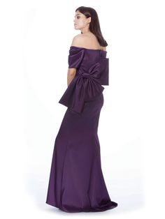 BADGLEY MISCHKA Off Shoulder Bow Back Gown Satin evening gown with large 198271a0d