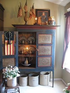 ~*~Prim Blue Punched Tin Pie Safe...with olde flags, crocks & pewter dishes~*~