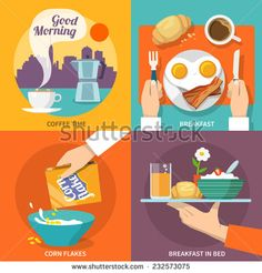 Breakfast icons flat set with coffee time corn flakes bed isolated vector illustration