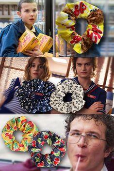 Stranger Things Scrunchies - 3 pack bundle (eggo, scoop's in navy, alexei in yellow)