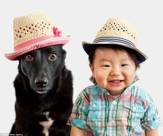 Grace Chon, from Los Angeles, came up with the idea of shooting her baby Jasper and rescue dog Zoey in matching hats for a series of photos - and now the dynamic duo can't get enough of the pictures. Funny Animal Pictures, Funny Animals, Cute Animals, Animal Fun, Dog Love, Puppy Love, Japanese Babies, Good Buddy, Baby Dogs