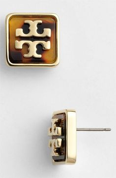 Tory Burch 'Brody' Logo Stud Earrings available at #Nordstrom  metal overlay over genuine stone