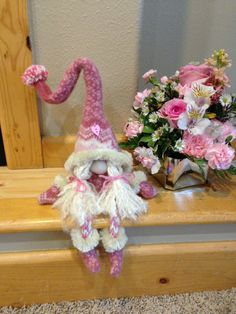 Pink Felted Valentine Girl Gnome by HeidisGnomes on Etsy