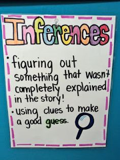 "First Grade Fresh: ABC/ Word Study Task Cards and Anchor Charts - anchor chart gives a definition of the word ""inferences""- ""figuring out something that wasn't completely explained in the story"" and ""using clues to make a good guess. Reading Lessons, Reading Skills, Teaching Reading, Learning, Guided Reading, Close Reading, Teaching Ideas, Reading Tips, Student Teaching"