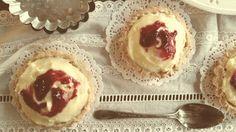 Rasberry Apple Custard Tarts  #rasberry #apple #tart #custard #vintage #lace