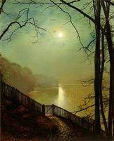 Moonlight on the Lake Roundhay Park Leeds by John Atkinson Grimshaw