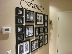 how to do a 'picture wall'... love how they taped templates to the wall for perfect spacing!