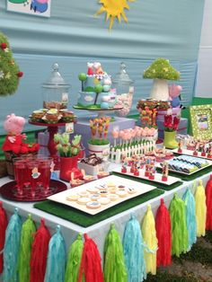 Amazing Peppa Pig Birthday Party!  See more party ideas at CatchMyParty.com! Girl 2nd Birthday, Pig Birthday, 3rd Birthday Parties, Birthday Ideas, Dream Party, Peppa Pig, Baby Party, Buffet, Fiestas