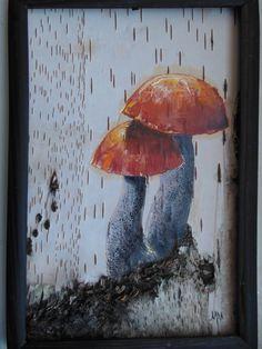 Картина на бересте Грибы .. Wood Log Crafts, Birch Bark Crafts, Pine Needle Baskets, Deer Horns, Wood Logs, Upcycled Crafts, Faeries, Painting On Wood, Wood Art
