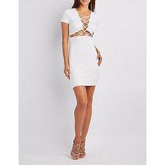 White Lattice-Front Bodycon Midi Dress - Size