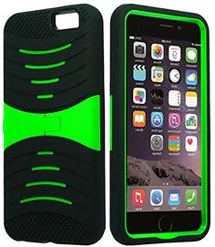 """myLife Shockproof Rubberized Security Armor for iPhone 6 Plus (5.5"""" Inch) by Apple {Bright Green and Black """"Bright Layered Rugged"""" Three Piece TUFF-Fit Full Body Case} myLife Brand Products http://www.amazon.com/dp/B00PBF7EKI/ref=cm_sw_r_pi_dp_t95yub176N349"""
