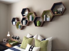 Set of 3 Hexagon Shelves - Honeycomb Shelf - Home Decor - Wooden Shelf - Floating Shelves - Mid Century Modern - Minimalist Wall Art - OOAK by HaaseHandcraft on Etsy https://www.etsy.com/listing/385772992/set-of-3-hexagon-shelves-honeycomb-shelf