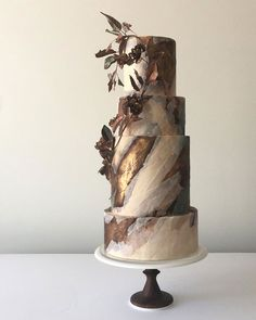 Modern Wedding Cakes Brown, bronze and cream marble wedding cake - This art cake collection showcases an abstract approach to cake decorating. Each work of food art demonstrates the artist's unique style. Beautiful Wedding Cakes, Beautiful Cakes, Amazing Cakes, Perfect Wedding, Unusual Wedding Cakes, Unique Cakes, Creative Cakes, Naked Wedding Cake, Brown Wedding Cakes