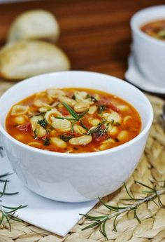 Pasta e Fagioli ~  flavorful, hearty pasta and white bean soup with rosemary olive oil drizzle on top.  www.thekitchenismyplayground.com