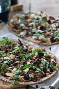 Chicken Cherry Flatbread. With creamy goat cheese, caramelized onions and arugula this flatbread is beyond delicious!