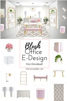 Blush Office E-Design – Chic Home Office Design Home Design, Home Office Design, White Office Decor, Pink Gold Office, Home Office White Desk, Feminine Office Decor, Décor Boho, Home Office Organization, Home Office Space