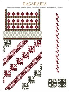 Semne Cusute: ie din MOLODOVA, Basarabia Cross Stitch Borders, Simple Cross Stitch, Cross Stitching, Folk Embroidery, Cross Stitch Embroidery, Embroidery Patterns, Textile Patterns, Knitting Patterns, Beading Patterns