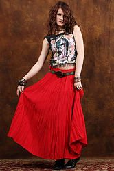 90's Fire in the Sky Maxi Skirt S/M - Vintage 90s RED Festival Boho Burnout Hippie Gipsy Airy Gauze Full Maxi Skirt