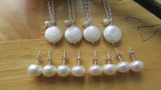 Set of Pearl White Coin Silver Necklace 925 White by JJACreation, $84.99